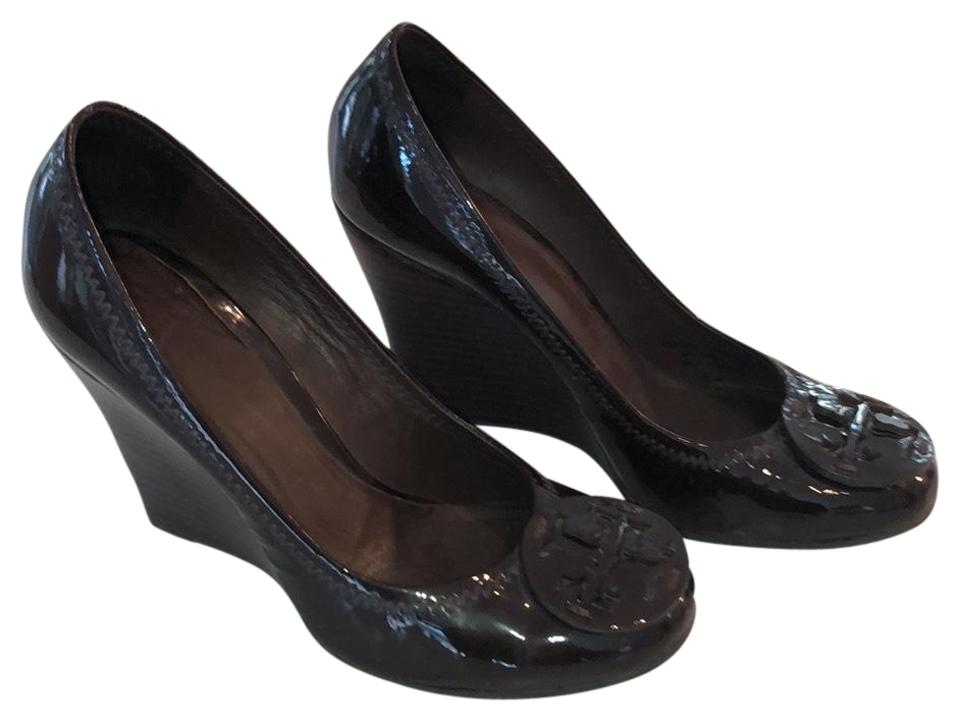 4fbacf1e9ff4 Tory Burch Brown Patent Leather Dark Heels Wedges Size US 6 Regular ...