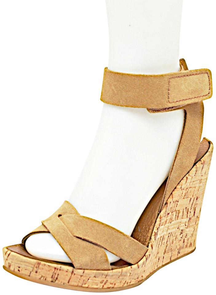 Pedro Garcia Tan Suede Cork Platform Ankle Lining Strap Heels W Copper Lining Ankle Sandals ca4359