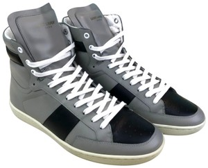 Saint Laurent Yves Leather High Top Sneakers Gray Athletic