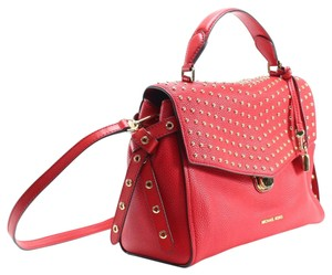Michael Kors Studded Front Flap Satchel in Red