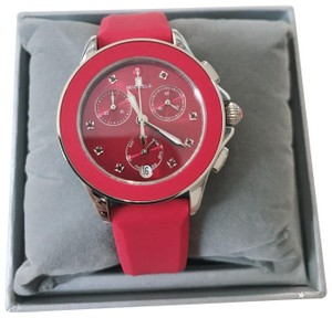 Michele $400 NWT MICHELE ' Cape ' Chrono Red Sunray Dial watch MWW27C000004