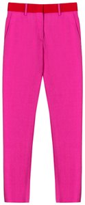 MSGM Crepe Bubblegum Tuxedo Trouser Pants hot pink/ red waistband