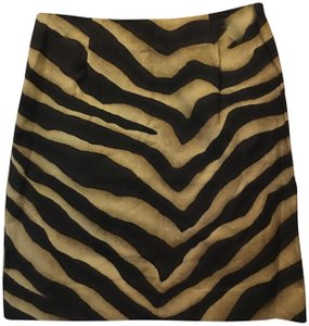 Lauren Ralph Lauren And Tan Animal Print Cotton Mini New With Tags Mini Skirt Brown