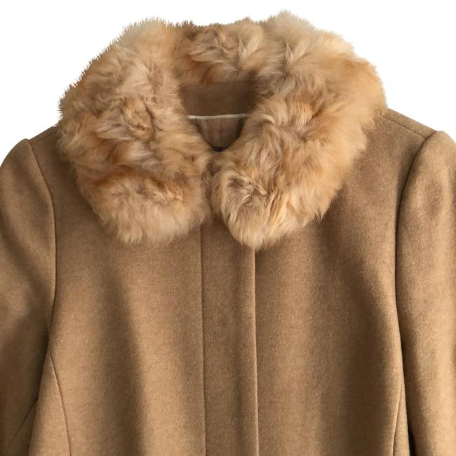 Item - Camel Wool with Shearling Collar Coat Size 12 (L)