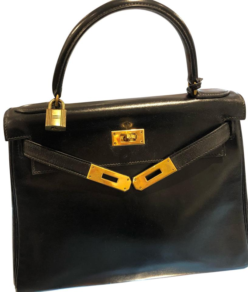 53b7f258317a Hermès Kelly Vintage Black Leather Satchel - Tradesy