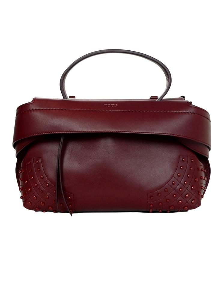 fe966f8060ffc Tod's Small Wave Top Handle Burgundy Leather Shoulder Bag - Tradesy