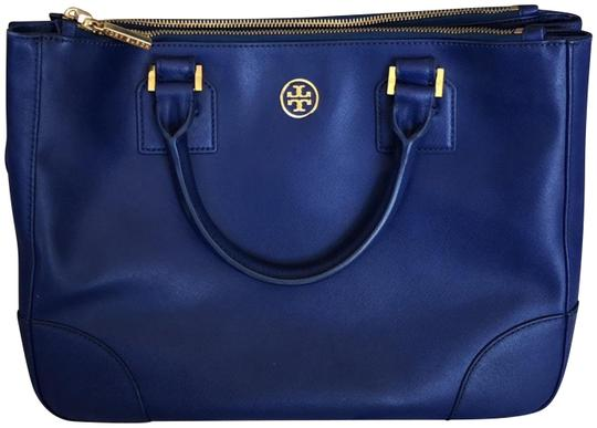 Tory Burch Robinson Prada Double Zip Tote Cobalt Limited Edition Blue Leather Cross Body Bag