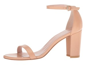 Stuart Weitzman Leather Ankle Strap Chunky Nude Bambina Nappa Sandals