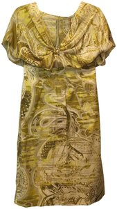 Emilio Pucci Yellow Print Silk Cotton Blend V-neck Front Gather Detail New With Tags Dress