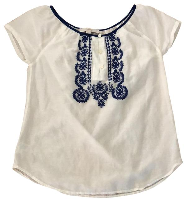 Item - White with Blue Embroidered Cotton/Silk Blend Tunic Size 2 (XS)