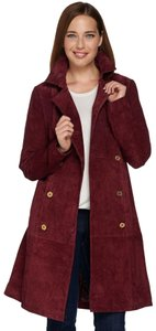 C. Wonder Canvas Silk Lining Burberry Trench Tan Double Brested burgundy Leather Jacket