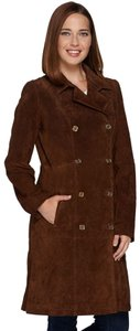 C. Wonder Canvas Silk Lining Burberry Trench Tan Double Brested brown Leather Jacket