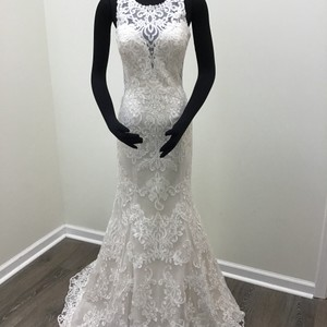 Stella York Ivory Lace Dolce Satin Style 6487 Formal Wedding Dress Size 8 (M)