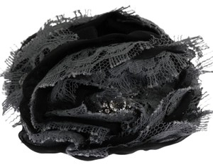 Dolce&Gabbana D1134 Women's Black Gray Floral Lace Crystal Hair Claw