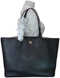 e22d38fded9 Tory Burch Perry Black/Beige Black Leather Tote - Tradesy
