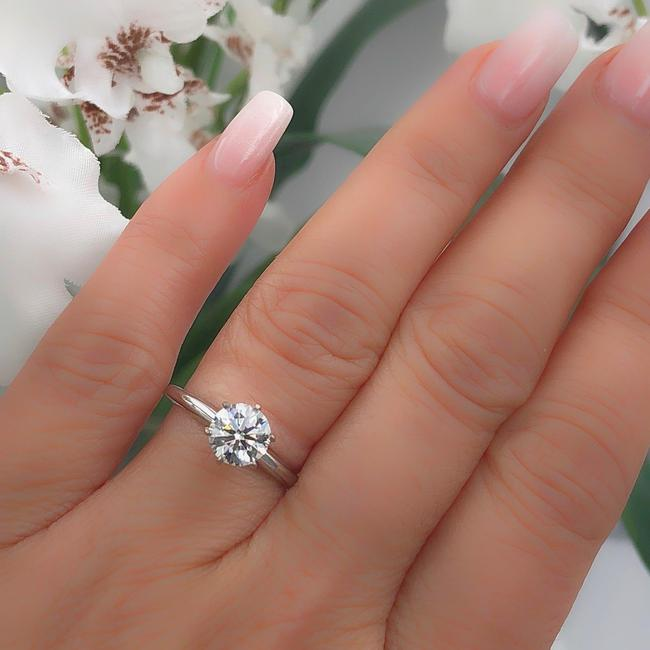 Item - H Si1 Round Brilliant 1.97 Cts 14k White Gold Coa Engagement Ring