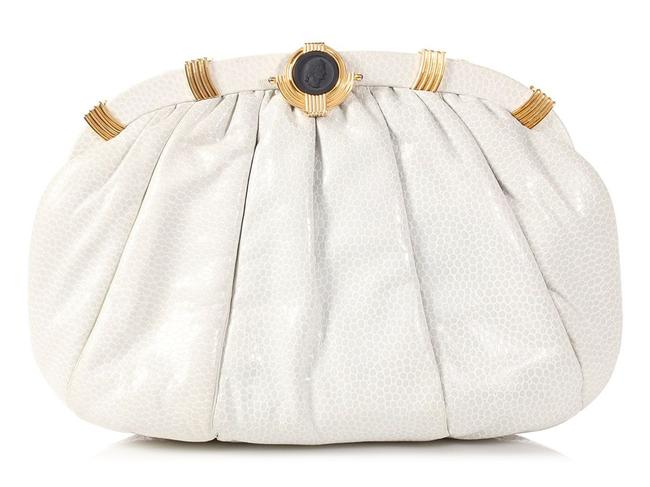 Item - Cameo Medallion Frame Pleated White Leather Clutch