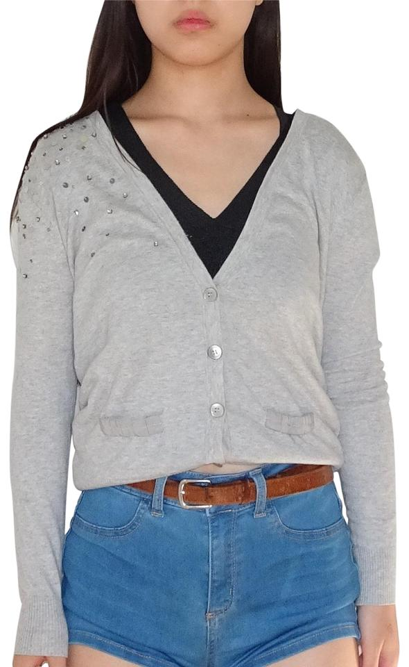 fc9a3413967 Ann Taylor LOFT Gray Cardigan with Buttons Sequins and 2 Faux Pockets Blouse