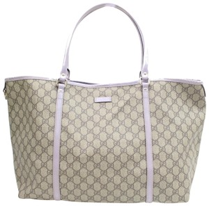 77883d74c2eb Gucci Large Lavender Trim Brown and Purple Canvas Tote - Tradesy