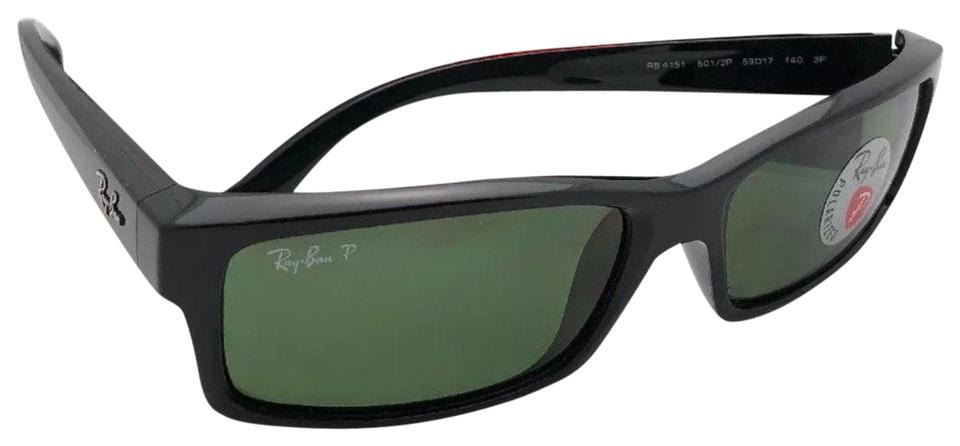 19909626f5 Ray-Ban Polarized Rb 4151 601 2p 59-17 Black Frame W  Green Lenses ...