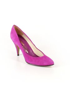 Sergio Zelcer Vintage Suede Leather Magenta Purple Pumps