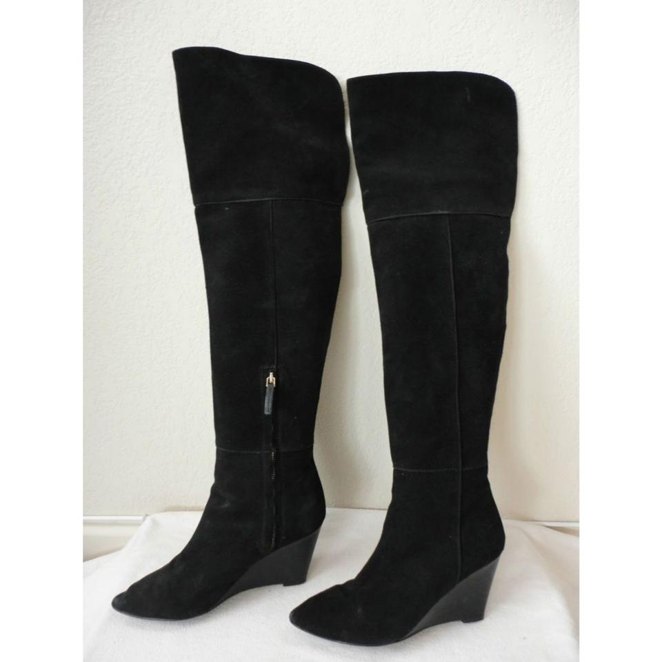 f04ce2c7d85 Zara Black Over The Knee Suede Wedge 7.5 Boots Booties Size EU 38 ...
