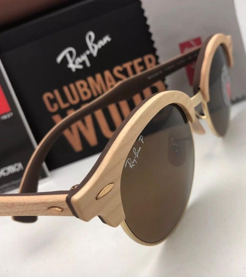 0306650421 Ray-Ban Polarized Clubround Wood Rb 4246-m 1179 57 Brown Gold W  Brown  Lenses 1179 57 Sunglasses - Tradesy