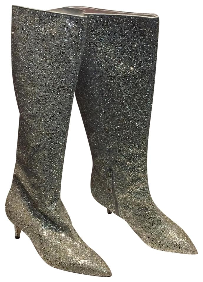 dfa4c266d122 Kate Spade Silver Gold Olina Glitter Knee High Boots Booties Size US ...