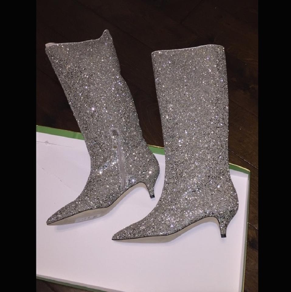 7d941bbb7 Kate Spade Silver/Gold Olina Glitter Knee High Boots/Booties Size US ...