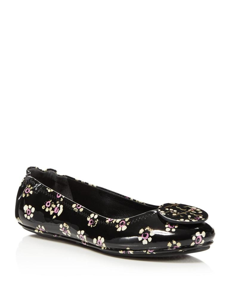 35b0cfa2de2d Tory Burch Black Minnie Patent Leather Travel Ballet Floral Flower Flats.  Size  US 6.5 Regular (M ...