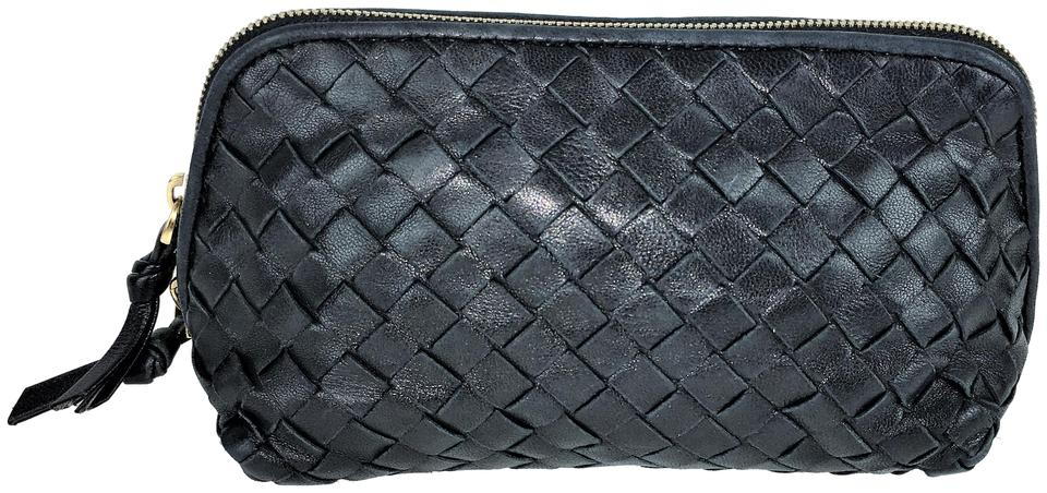 2a1b6f30db4c Bottega Veneta Black Woven Clutch Cosmetic Bag - Tradesy