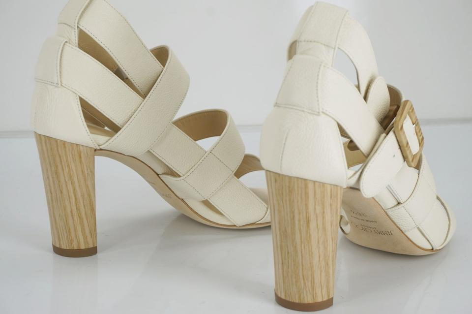 25ea2791e22 Jimmy Choo White Leather Maya 85 Gaw Ankle Strappy Caged Open Sandals Size  EU 36.5 (Approx. US 6.5) Regular (M