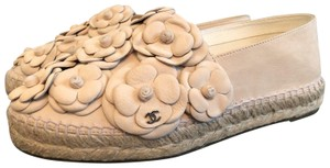 Chanel Camellia Espadrille Suede Pink Flats