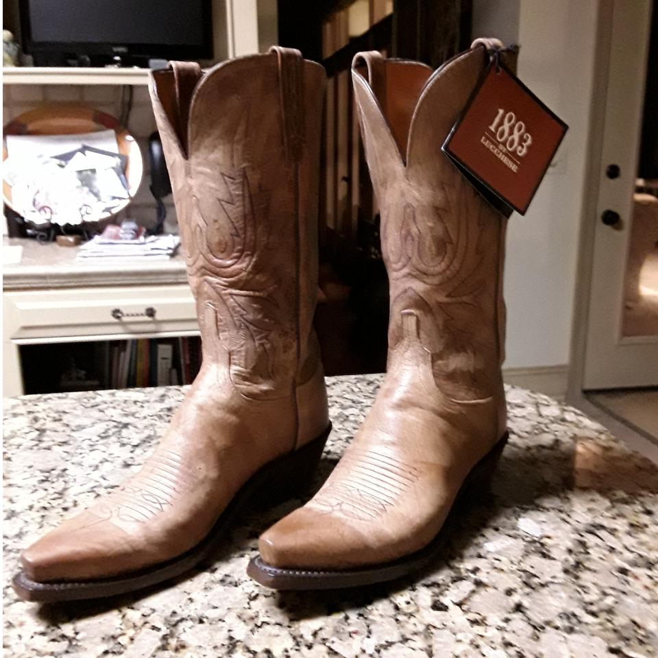 50136b05bd2 Lucchese Tan 1883 Mad Dog Goatskin Cowboy Snip Toe Boots/Booties Size US 7  Wide (C, D) 60% off retail