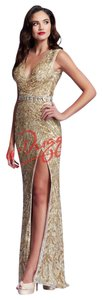 Mac Duggal Couture Sequin Sparkle Party V-neck Evening Dress