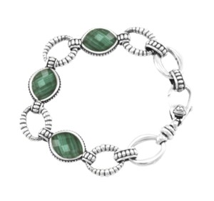 Lagos LAGOS Venus Bracelet Sterling Silver Malachite Doublet Oval Link
