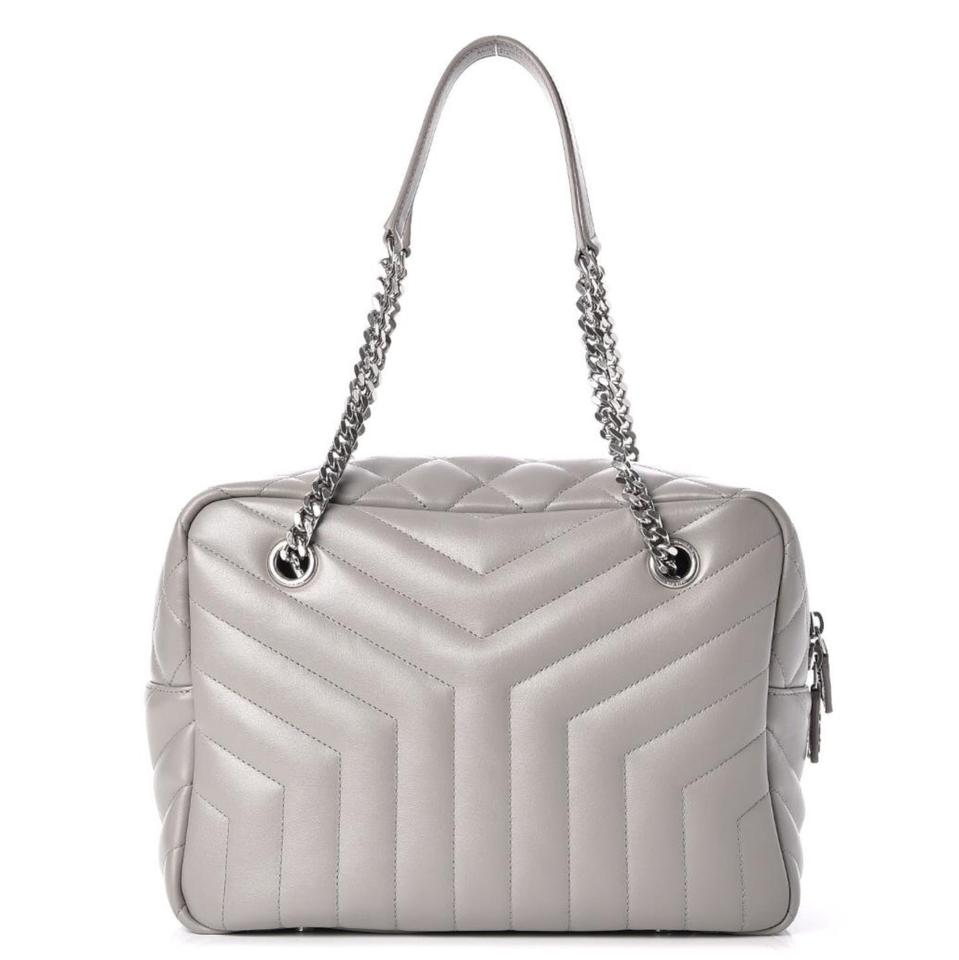 69dc5a6a342a Saint Laurent Monogram Loulou Medium Chain Quilted Bowling Grey Leather  Shoulder Bag