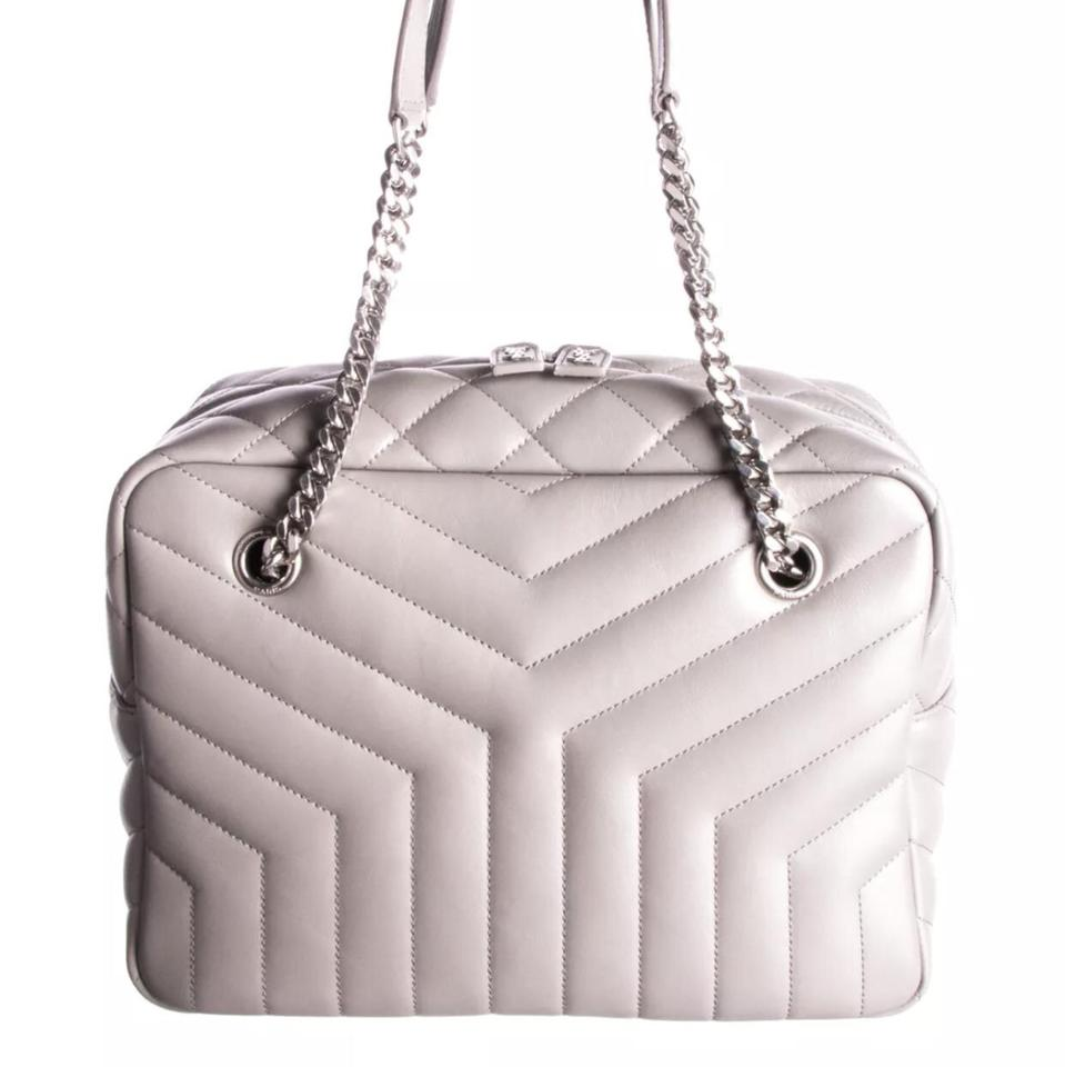e78097ddba54 Saint Laurent Monogram Loulou Medium Chain Quilted Bowling Grey Leather  Shoulder Bag - Tradesy