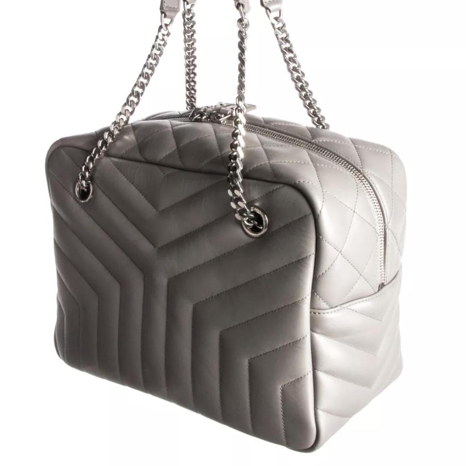 cd81aac623cf Saint Laurent Monogram Loulou Medium Chain Quilted Bowling Grey ...