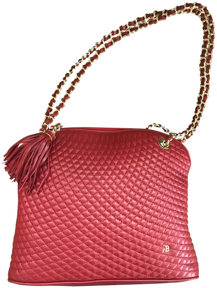 Bally Vintage Quilted Red Leather Shoulder Bag Tradesy