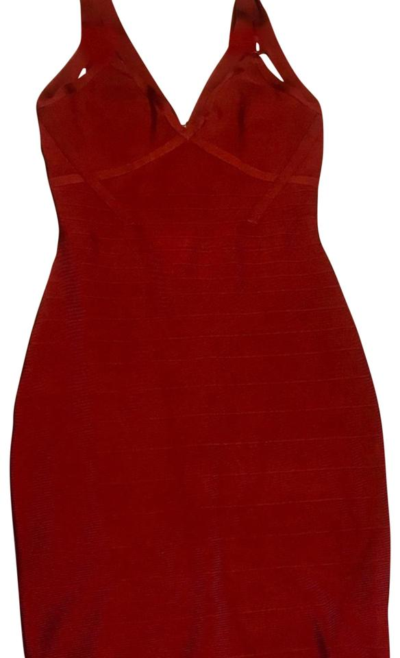 9750faffb19 Guess By Marciano Burgandy Bandage Mid-length Cocktail Dress Size 4 ...