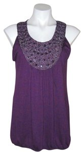Agenda Jeweled Plum Sequenced Sleeveless Risdarling Xl Night Out Beaded Work Attire Casual Day Elastic Bottom Top Purple
