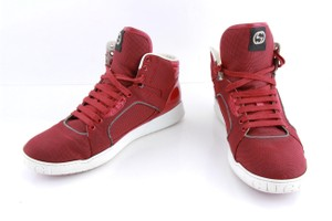 Gucci Red Canvas Rebound Mid High Top Sneaker Shoes