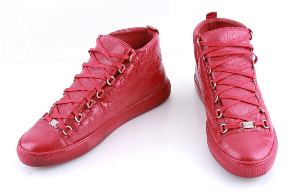 ef202fe757998 Balenciaga Red Rouge Grenade Lambskin Arena High Sneakers Shoes Image 0 ...