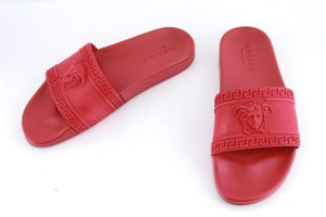 dcb0425c3b9 Versace Red Rubber Medusa Cardinal Slide Sandals Shoes