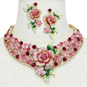 Multicolor Pink Flower Crystal Collar Necklace Bib And Earring Mothers Day Wedding Bridal Gift SET