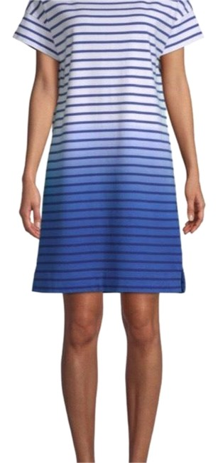 Item - Blue-white Dip Dye Stripe T-shirt Mid-length Short Casual Dress Size 8 (M)