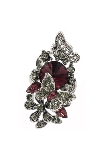 Item - Red Crystal Butterfly and Flower Ring