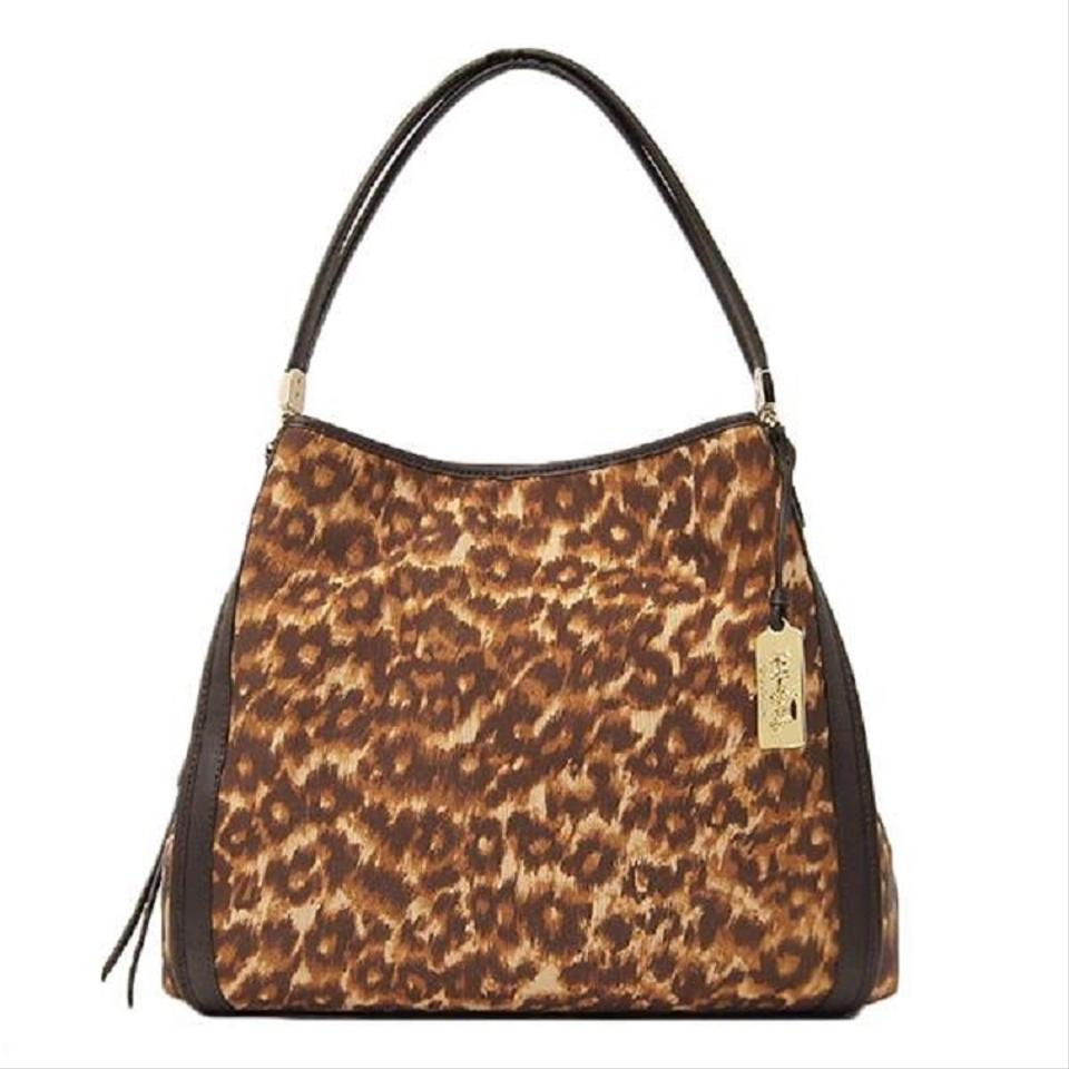 2119daf75e1b Coach Phoebe Madison Ocelot Leopard Cheetah 32410 Brown Fabric and Leather  Shoulder Bag