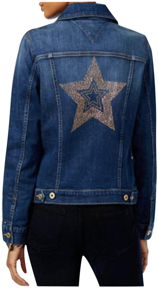 a680cce5 Tommy Hilfiger Pointed Collar Jeweled Flag Stud Star Trucker Style Minor  Distress Womens Jean Jacket Image ...